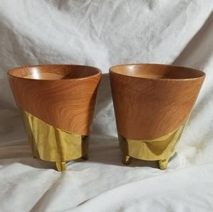 2 Footed Planters / Cache Pots Faux Wood & Gold